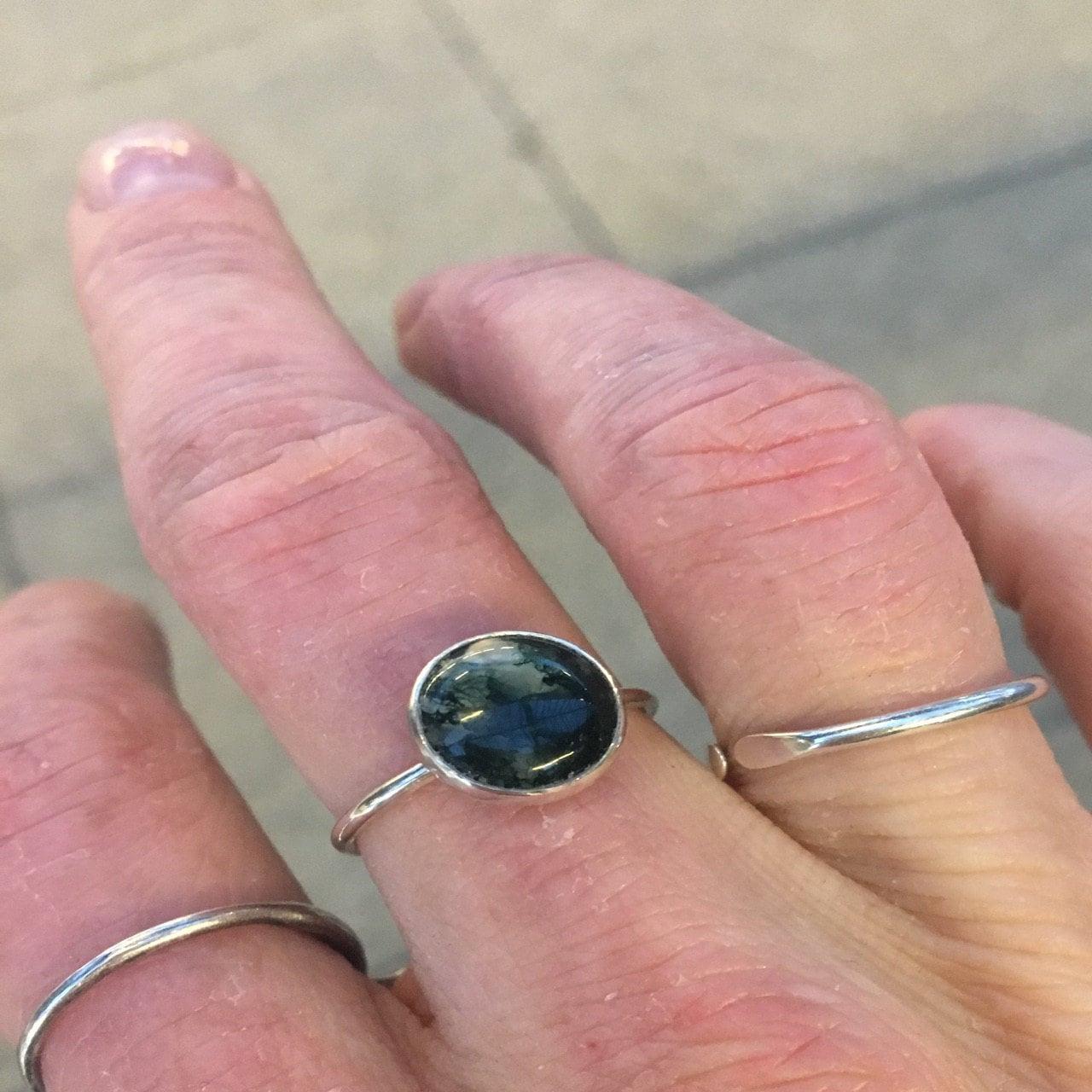 Moss Agate Ring 925 - Medium Stacking Ring - Green Gemstone - Wealth ...