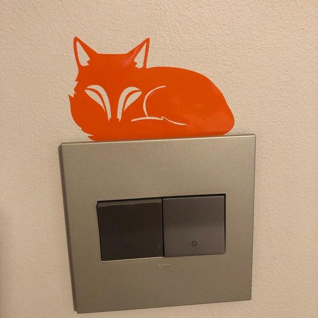 orange fox wall sticker