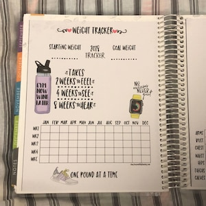 Weight Loss Tracker | Planner Stickers | Notes Page | Planner Printable |  Printable Planner Stickers | Weight Loss | No Year