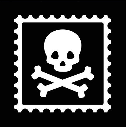 Pirate skull and crossbones inside stamp
