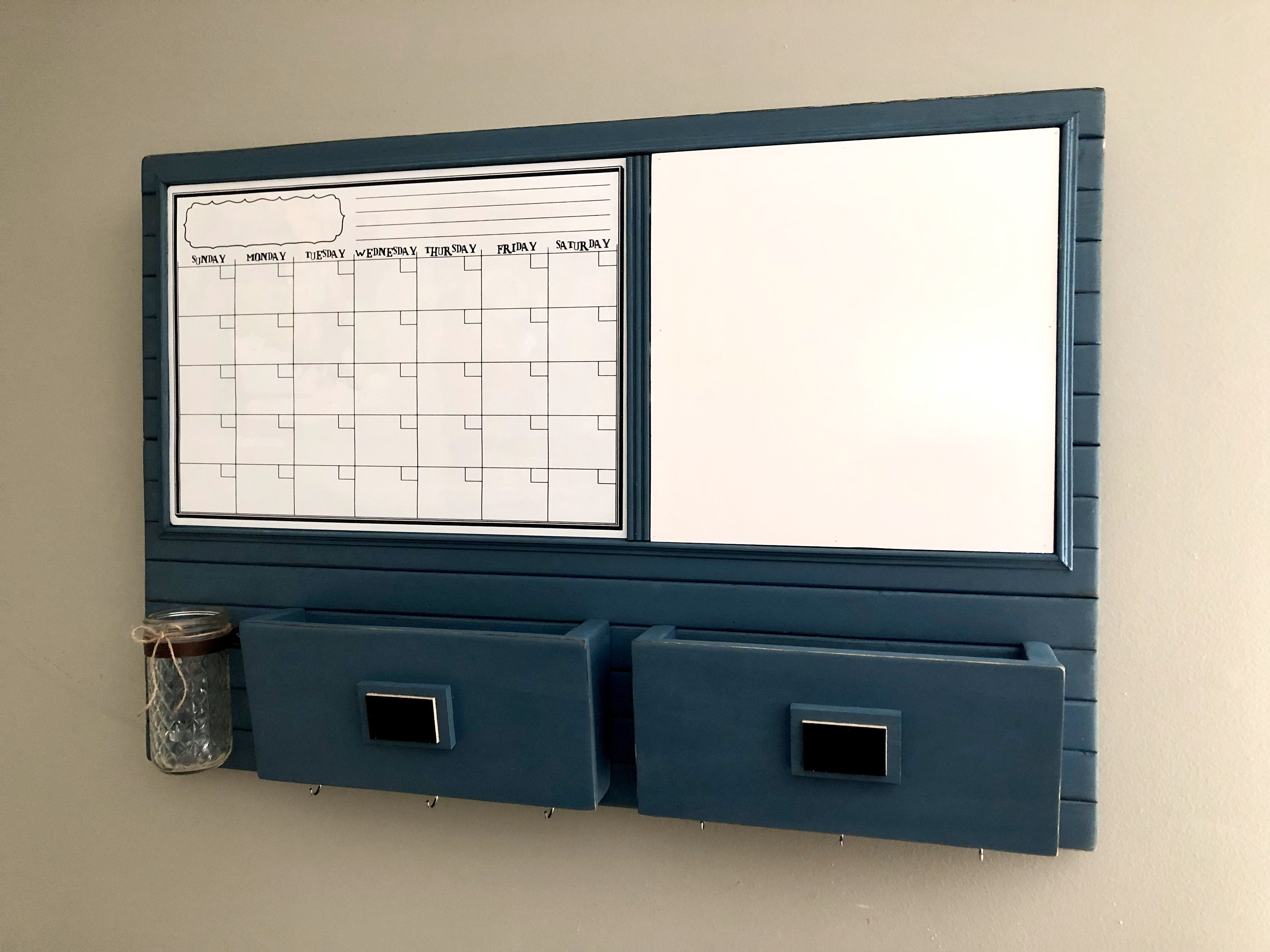 Harmony Boards Wall Organizer with Calendar, Whiteboard, Mail Sorter and Key Hooks in hazy blue