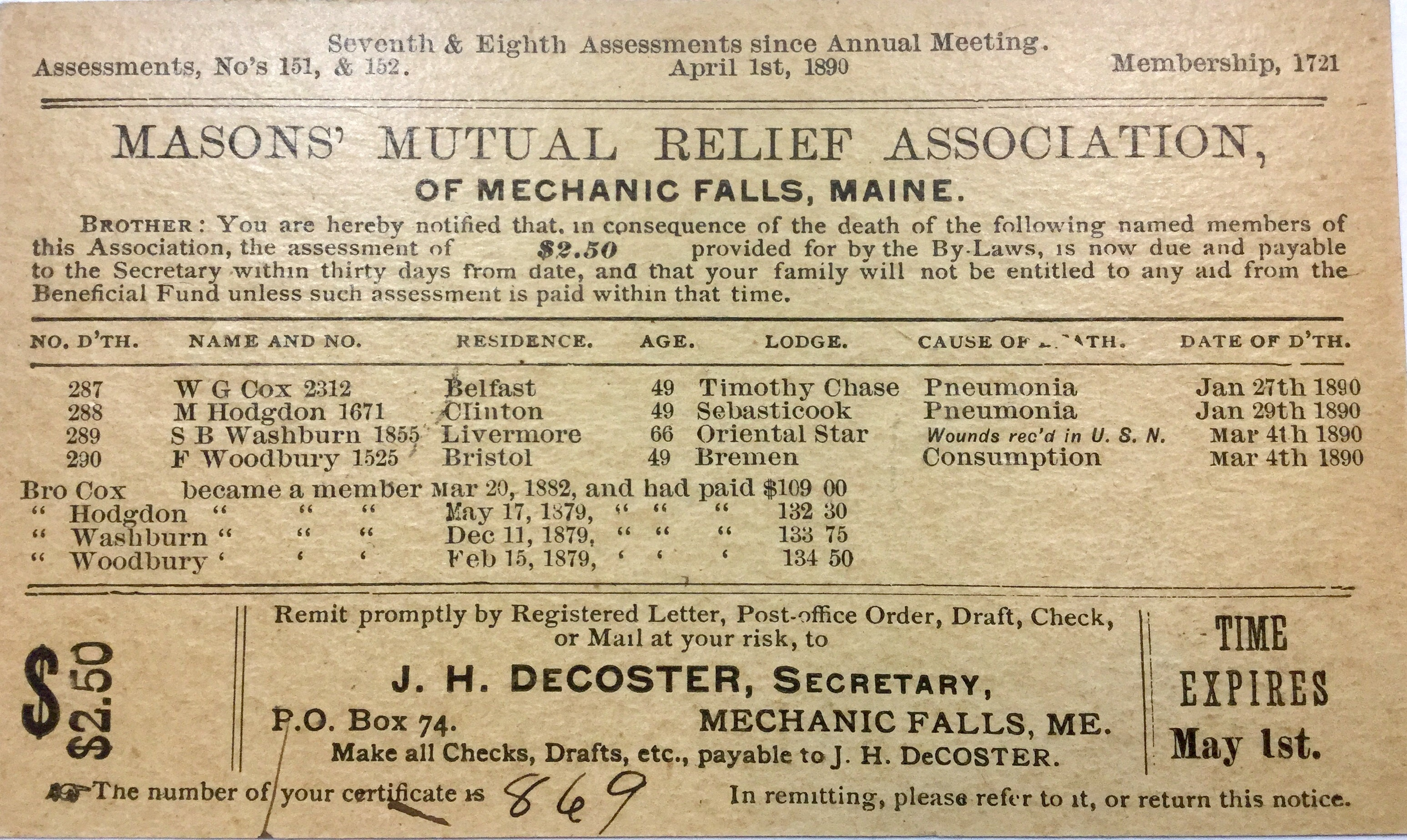 Masons' mutual relief association assessment card