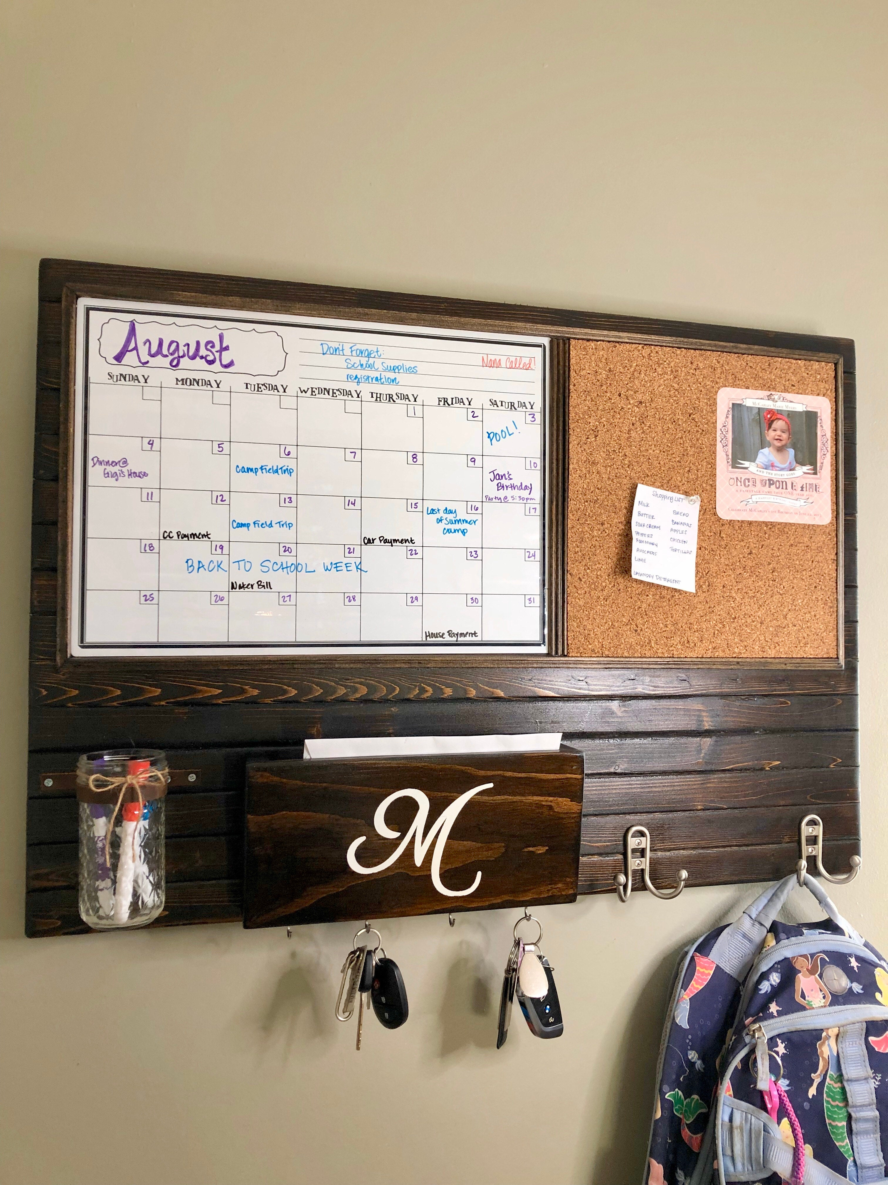 Harmony Boards Large Dry Erase or Chalk Calendar and Cork Board Command Center with Mailbox