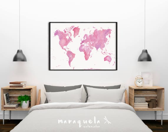 ORIGINAL World map. Light Pink and Violet Watercolor painting Poster Gift Home Decor Birthday gift for her, Christmas gift.Handmade. Maps