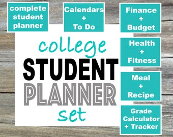College Student Planner Set - From the Minimalist Collection - 6 Items