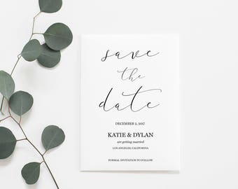 Printable Save the Dates | Save the Date | Calligraphy Save the Dates | Printable Wedding Announcement | Wedding Announcement | Calligraphy
