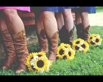 17 Piece Sunflower Wedding Bouquet Set, Sunflower Bridal Bouquet, Sunflower Burlap Bouquet, Rustic Bouquet, Rustic Wedding Yellow Sunflowers