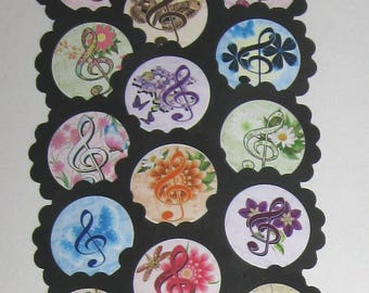 Music Note Cupcake Toppers/Party Picks  (15pc Set) Item #1746