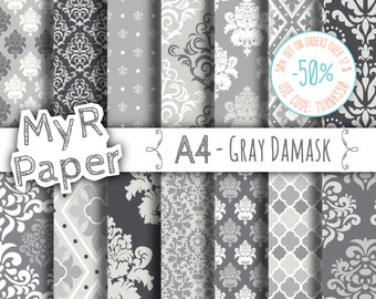 """A4 - 21 x 29,7 cm - 8,3 x 11,7 inc - Digital paper: """"Gray Damask"""" pack with grey damask backgrounds and patterns for any creative handiwork"""