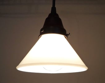 Petite Vintage Milk Glass PENDANT Light - Island Kitchen Flush Mount Ceiling Lighting Fixture Small Cottage Minimalist