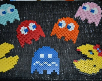 Ms Pac-man and Pac-man Ghosts: Inky, Blinky, Pinky, and Clyde/Blue ghost/magnetic Ghosts/Pac fan art/Video Game Art/Arcade Games/pacman perl