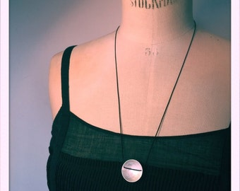 """Full Moon"" necklace with Silver Cup, hand-made. Black color link."