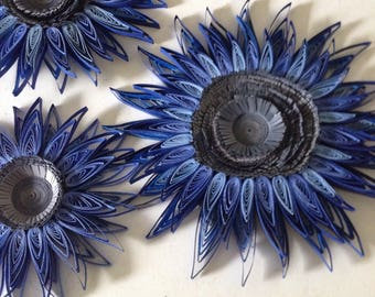Gray ,dusty blue ,navy flowers wall hangings