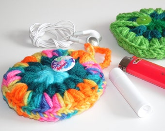 Headphones case, Puff Pocket, Purse pocket, Stash bag, Rainbow, Teal, Fidget spinner case Bright coin purse, stash bag, mp3 player