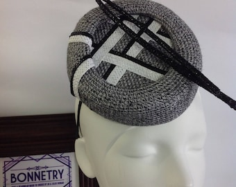 Black and white tweed Percher style hat