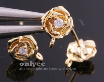 1pair/2pcs-9mmX6.5mm Gold Plated over Brass Rose Cubic zirconia earring, 925 sterling silver post Earring Findings(K1320G)