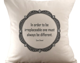 Coco Chanel Quote - Cushion Cover - 18x18 - 3 quotes available