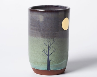 Tall Blue Tree and Gold Moon Cup