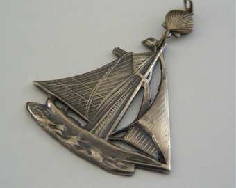 Vintage Pendant - Sailboat Pendant - Brass Pendant - Sailboat Jewelry - DIY Necklace - Jewelry Findings - Handmade