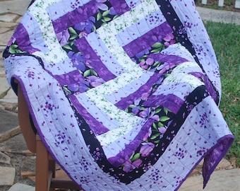 Modern Quilt, Lap Quilt, Wheelchair Quilt, Couch Quilt in Purple, Lavender, Green, Handcrafted Quilt