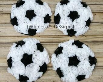 "Soccer Chiffon Rosettes - Black and White Balls - Sports Applique - 4"" wide"