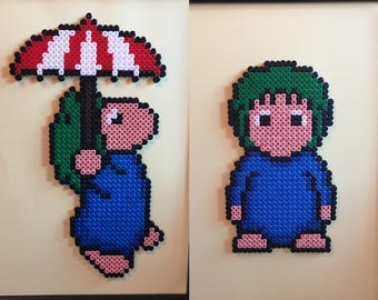 Lemming and/or Lemming Floater - Lemmings - Pixel Art A4 Framed Bead Picture - Available Individually or as a set of 2