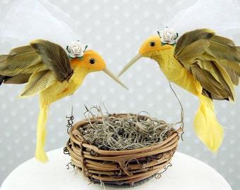 Yellow Hummingbird Wedding Cake Topper: Bride & Bride Lesbian Love Bird Cake Topper -- Two Brides