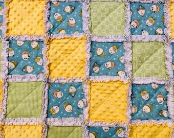 Baby Rag Quilt, Humpty Dumpty! Handmade Yellow, Green & Blue blanket, nursery rhyme theme, baby shower gift, girl blanket, boy blanket, crib