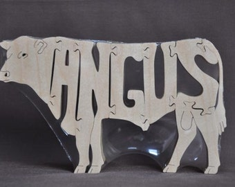 Angus or Red Angus Cow or Bull Cattle Puzzle Wooden Toy Hand Cut