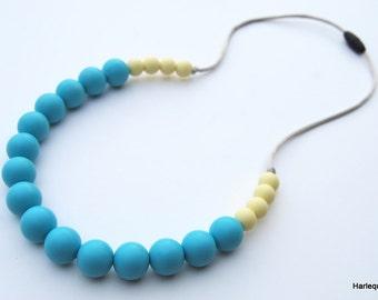Silicone Teething Necklace / Silicone Nursing Necklace - Sea & Apple