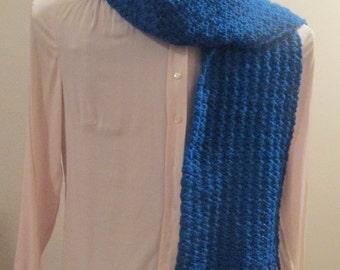 Caribbean Blue Crocheted Scarf