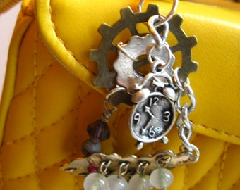 STEAMPUNK Series - Alice in Wonderland Time Piece with RePurposed Bling - Zipper Pull