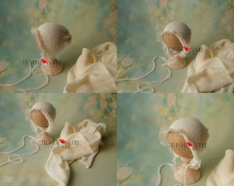 woolen NB bonnet with matching wrap SET knitted ties Newborn Baby photo props lace