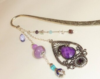 """Large bookmark Silver """"Indian"""" Purple"""