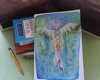 A5 Notebook, Transformations, Recycled Notebook, Journal, Angel Notepad, Healing art, Angel art, Spiritual, Angel Retreat, Workshop