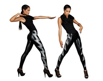 Holographic Lightning Bolt Leggings, Glam Rock, David Bowie, Holographic Clothing, Burning Man Leggings, Futuristic Clothing, by LENA QUIST