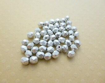 Set of 50 4 mm Silver Aluminum - F4 1220