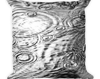 Rain Puddle Black and White Pillow Home Decor 18x18 Square Pillow Home Decor Throw Pillow Gift for Him Man Cave