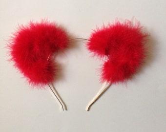 Fuzzy Red Cat Ear Headband