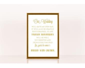 Wedding Reception Sign, Printable Wedding Sign, Drunken Shenanigans, Wedding Bar, Printable Sign for Wedding, Wedding Reception