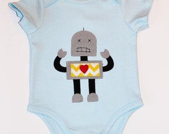 Baby Boy Applique Robot Onesie, you choose size 3 - 24 months