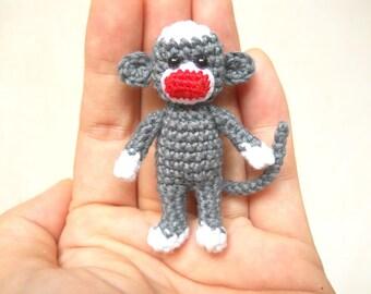 Mini Sock Monkey 2 inches - Amigurumi Crochet Miniature Sock Monkey Stuffed Animal - Made To Order