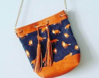 Fox Print Diva Slimline Crossbody Tote Bag, Waxed Canvas and Cork, Canadian Made, 1867Shop, Handmade, Bucket Bag, Leather