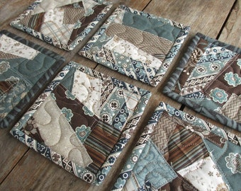 Six Drink Coasters Primitive Teal Brown Quilted Mug Rugs, Rustic Raw Edge Patchwork Modern Fabric Small Hostess Gift, Housewarming Gift