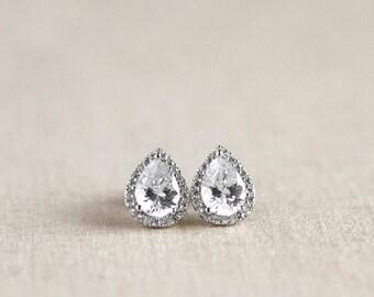 Teardrop Stud Earrings, Bridal Earrings, Bridesmaid Earrings, Bridesmaid Gift, Bridesmaid Jewelry, Wedding Jewelry, Flower Girl Jewelry, CZ