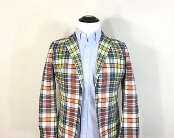brooks brothers fleece madras plaid cotton wellar jacket mens