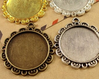 Wholesale 30 Pendant Trays 25mm Round Bezel Setting Alloy Filigree Antique Bronze/ Antique Silver/ Silver/ Gold Mountings, 168g