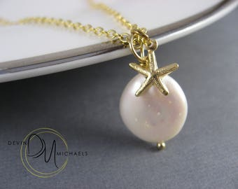 Starfish Necklace, Nautical Necklace, Pearl Necklace, Starfish Pendant, Beach Wedding