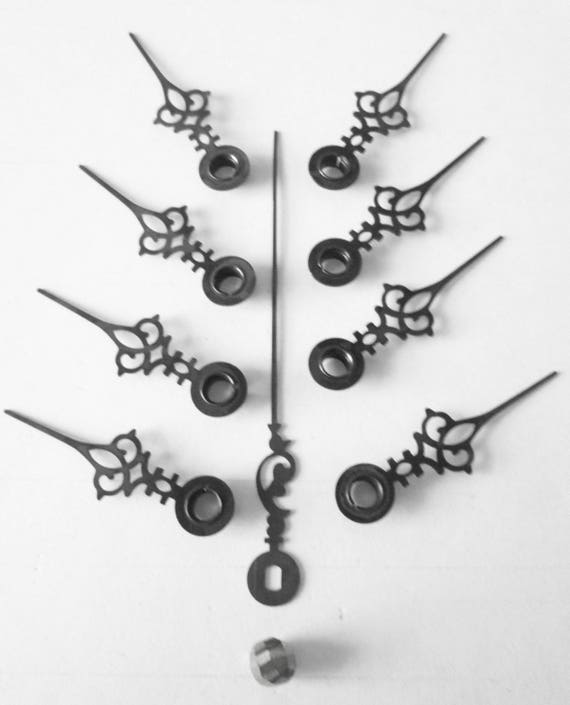 9 Small Dark Brown Steel Vintage Serpentine Style Clock Hands - for your Clock Projects , Jewelry Making, Steampunk Art  Etc...