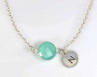Custom Bridesmaid Jewelry, March Birthstone Necklace, Birthstone Initial Necklace, Aquamarine Necklace, Aqua Chalcedony Necklace Mothers Day